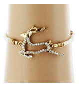 Crystal Goldtone Reindeer White Beaded Stretch Bracelet #AB6047-GW