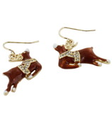 Crystal Accented Brown Reindeer Earrings #AE0983-GB