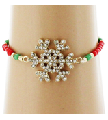 Crystal Goldtone Snowflake Red and Green Beaded Stretch Bracelet #AB6046-GR