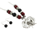 "24"" Red and Black Beaded Silvertone Elephant Necklace and Earring Set #UNE50092-RED/BLK"