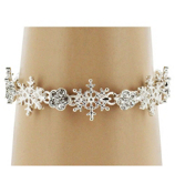 Snowflake and Crystal Flower Magnetic Bracelet #AB5962-S