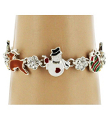 Christmas and Crystal Flower Magnetic Bracelet #AB5961-SMX