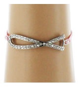 Crystal Pink Ribbon Adjustable Pink Cord Bracelet #AB5334-RHCP