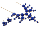 "26"" Goldtone and Blue Bubble Necklace and Earring Set #AS4560-GM"
