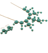 "26"" Goldtone and Turquoise Bubble Necklace and Earring Set #AS4560-GTQ"