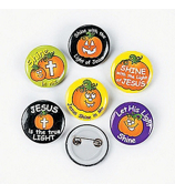 24 Glow-in-the-Dark Christian Pumpkin Mini Buttons #36/2461