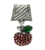 Crystal Accented Apple Scarf Pendant #51049-APPLE