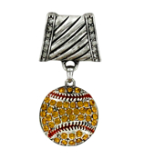 Crystal Accented Softball Scarf Pendant #50905-SOFTBALL