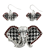 Crystal Accented Silvertone and Houndstooth Elephant Pendant and Earring Set #AC1004-ASR