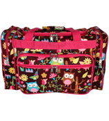 "20"" Owl Give a Hoot Duffle Bag with Hot Pink Trim #WQL420-H/PINK"