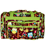 "20"" Owl Give a Hoot Duffle Bag with Lime Trim #WQL420-LIME"