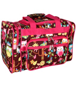 "17"" Owl Give a Hoot Duffle Bag with Hot Pink Trim #WQL417-H/PINK"