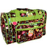 "17"" Owl Give a Hoot Duffle Bag with Lime Trim #WQL417-LIME"