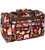 """17"""" Owl Give a Hoot Duffle Bag with Brown Trim #WQL417-BROWN"""