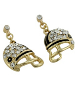 Goldtone and Crystal Football Helmet Earrings #QE1318-CRY/GD