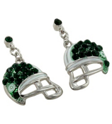 Green and White Football Helmet Earrings #QE1318-GRN/WHT