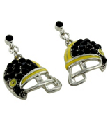 Black and Yellow Football Helmet Earrings #QE1318-BLK/YEL