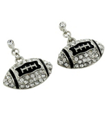 Crystal and Silvertone Football Earrings #QE1319-CRY/RH