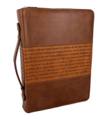 Two-Tone Brown Joshua 1:5-9 Bible Cover #BBL469
