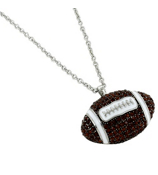 "17"" Medium Crystal Football Pendant Necklace #QN1209-BRW"