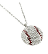 "17"" Large Crystal Baseball Pendant Necklace #QN1207-RH"