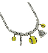 "18"" Softball Themed Charm Necklace #QN1215-YEL"