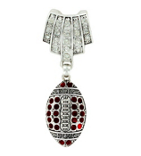 Crystal Accented Football Scarf Pendant #50948-FOOTBALL