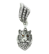 Crystal Accented Tiger Head Scarf Pendant #51379-TIGERHEAD