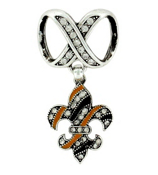 Crystal Accented Black and Gold Fleur De Lis Scarf Pendant #51053-FLEURDELIS