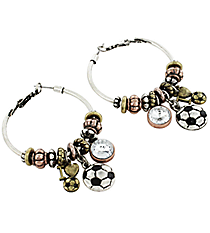 Love Your Soccer Classic Burnished Tri-Tone Hoop Earrings #HE1539-MTB