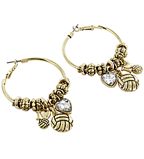 Love Your Volleyball Classic Goldtone Hoop Earrings #HE1540-AG