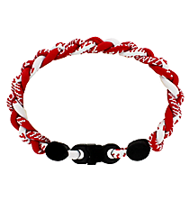 Braided Titanium Ionic Red and White Bracelet #IONIC-WB-RDWH