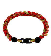 Braided Titanium Ionic Red and Gold Bracelet #IONIC-WB-RDGO