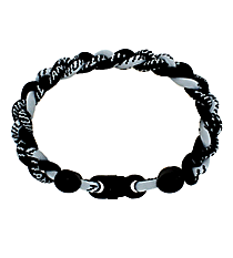 Braided Titanium Ionic Black and Silver Bracelet #IONIC-WB-BKSI