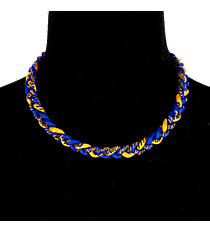 Braided Titanium Ionic Royal Blue and Gold Necklace #IONIC-NK-RBGO