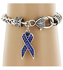Blue Crystal Ribbon Bracelet #51737-BLUE