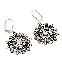 Crystal and Silvertone Starburst Snowflake Earrings #47722-STARBURST