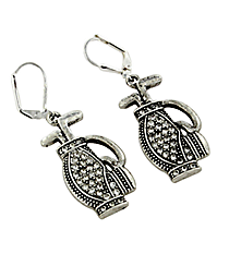 Crystal and Silvertone Golf Bag Earrings #48765-GOLFBAG