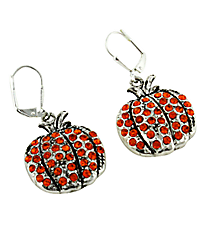 Crystal Accented Pumpkin Earrings #48023-PUMPKIN