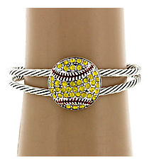 Crystal Accented Softball Cuff Bracelet #13137