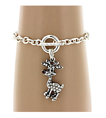 Crystal and Silvertone Rudolph Toggle Bracelet #51567-RUDOLPH