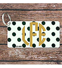 White with Brushed Dark Green Polka Dots Metal Keychain #KC-6961