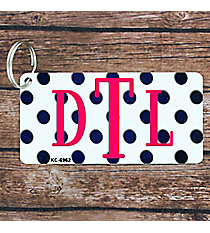 White with Brushed Dark Blue Polka Dots Metal Keychain #KC-6962