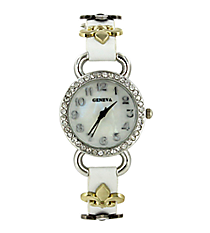 White Leather Fleur de Lis Studded Cuff Watch #11356FDL-WH