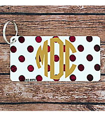 White with Brushed Fuchsia Polka Dots Metal Keychain #KC-6973