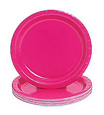 24 Hot Pink Paper Plates #70/1236