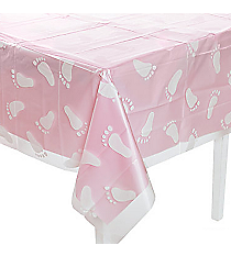 One Plastic Clear Baby Footprint Tablecloth #70/6941