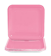 18 Candy Pink Square Dinner Plates#70/7437