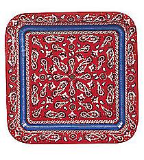 8 Red Bandana Square Dinner Plates #70/8321