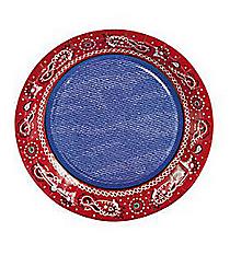 8 Red Bandana Dessert Plates #70/8325